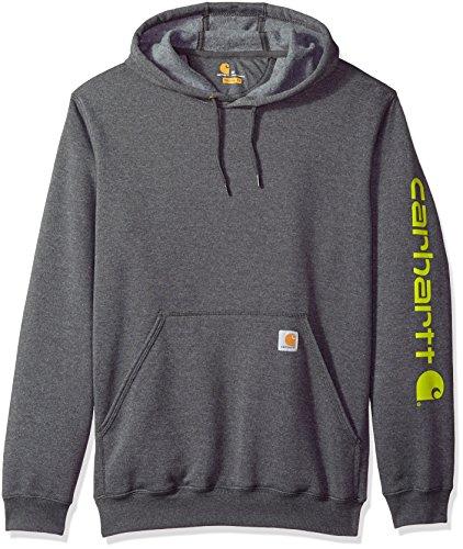 Carhartt Herren B&T Signature Sleeve Logo Midweight Hooded Sweatshirt K288 Kapuzenpulli, Carbon Heather, XX-Large 50 Midweight Pullover