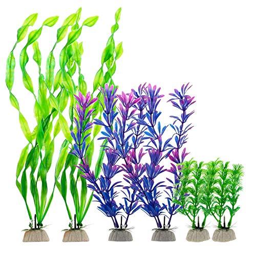 SENZEAL Aquarium Pflanzen Plastik Wasserpflanzen Aquarium Deko Wasser Gras für Aquarium Fisch Tank Dekoration 6 Stück