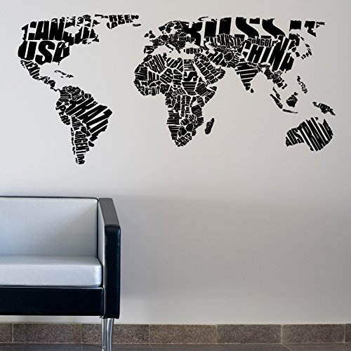 World map typography wall sticker words quotes decals 120 bl world map typography wall sticker words quotes decals 120 bl gumiabroncs Images