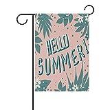 Bettken Hello Sommer Tropic Jungle Design Druck Garten Flagge Custom Polyester Faser Doppelseitig Outdoor Deko Flagge (30,5cm W x 45,7cm H) 12 x 18 in Mehrfarbig