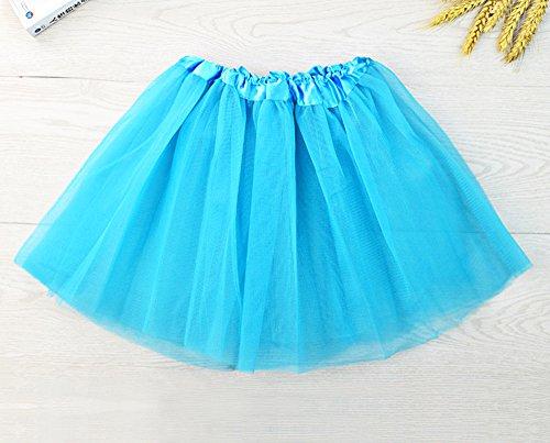 Imixcity Femme 12 Couleurs Pettiskirt D'élastique Mini Robe 3-Couche Organza Jupe Bleu Sky