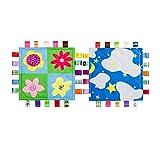 INCHANT Kleinkind-Sicherheitsdecke Taggy Comfort Plüschdecke Baby-Mädchen beruhigendes Handtuch, 2- Packung