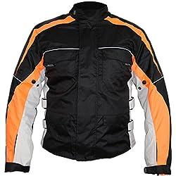 Veste de moto pour homme Motard Veste imperméable Protection (orange, 3XL)