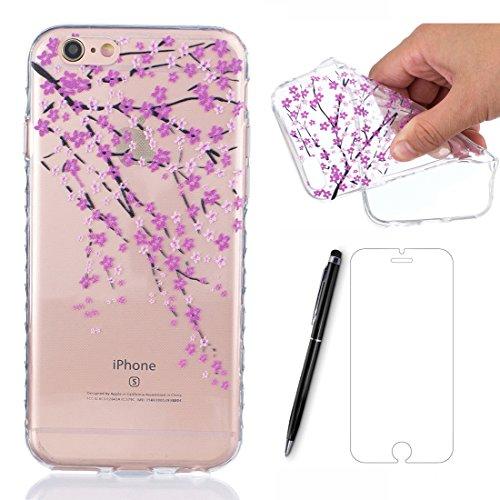 Preisvergleich Produktbild Lotuslnn Hülle Apple iPhone 6s/6 silikon (4.7 Pouce) avec prune fleur conception - iPhone 6 /6s Schutzhülle Etui en Rose Transparent