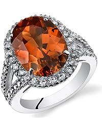 Revoni 8.50Karat Ovalschliff Erstellt, Padparadscha Saphir Verlobungsring Ring in Sterling Silber