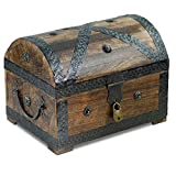 Brynnberg Thunderdog Coffre au trésor de Pirate en Bois Marron fabriqué à la Main Vintage avec Cadenas 28 x 20 x 20 cm