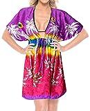 LA LEELA Palme Frauen Bikini beiläufige Badebekleidung Badeanzug Verschleiern Top-Kleid violett