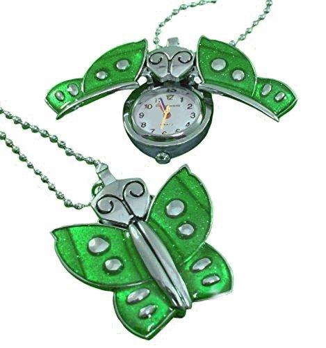 Individuelle Gravur Schmetterling grün Halskette Uhr-Anhänger mit Kette, in Geschenkbox, Schwarz-Kiste K2-grn