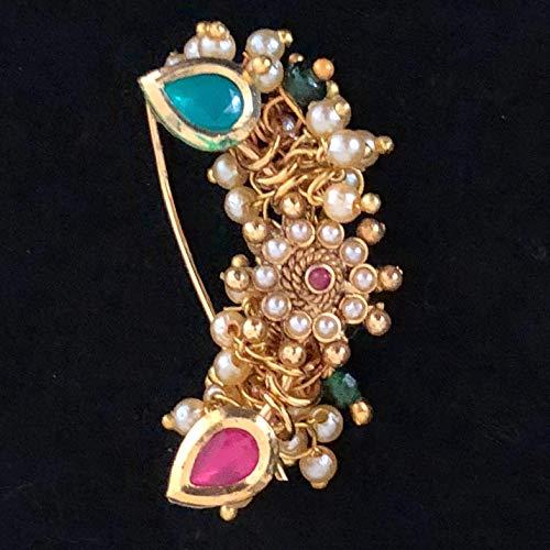 Buy Adiva Pierced Antique Dulhan Multicolor Marathi Baji Rao Nose