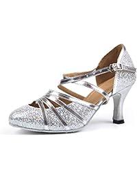 Mujer Plateado Tacón Para es Zapatos De Amazon qnvY5x