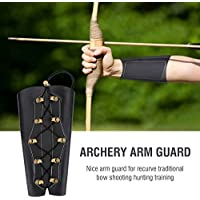 Archery Arm Guards Cuero PU Tiro con Arco Arm Guardia Disparos Equipo de protección con Correas Ajustables para Tiro con Arco(Black)