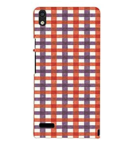 PrintVisa Checks Fabric Pattern 3D Hard Polycarbonate Designer Back Case Cover for Huawei Acend P6