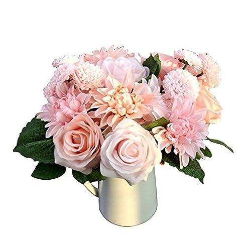 Yontree Bouquet 10 Pièces Fleurs Artificielles Mixte Roses Dahlias Grandes Marguerites Pâquerettes Décoration Mariage
