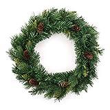 Weihnachtsdeko - Weihnachtskranz + Zapfen - Durchmesser 60 cm - Farbe GRÜN