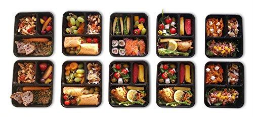 |10 pack| 3 fach Meal Prep Container. Frischhaltedosen Bento-Box Set mit Deckel. Spülmaschine, Mikrowelle, Gefrierschrank safe. BPA-frei Frishchalteboxen aus Kunststoff mit Trennwände [1L] - 2