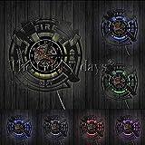 DFRTY Wanduhr Abteilung Büro Wand Dekor ******* Schallplatte Wanduhr Feuerwehrmann Gebet Geschenk