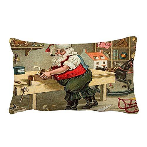MIRRAY Frohe Weihnachten Weihnachtsmann Kissenbezüge Leinen Sofakissenbezug Wohnkultur ()