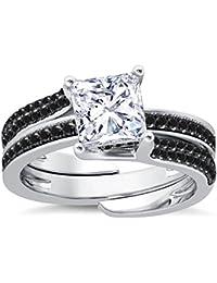 Silvernshine Interchangable Engagement Ring Set 14K White Gold Plated 2.35Ct Black Sim Diamonds
