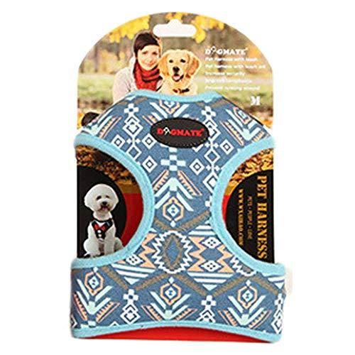 Dogmate Paisley Hundegeschirr Welpen Brustgeschirre Leinwand Katzen-Geschirr für Klein Hunde Atmungsaktiv Harness Bunt Verstellbare Haustier Vest mit Hundeleine Schleppleine Tierleine (S, blau)