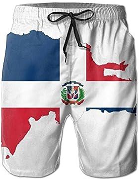 2017 New Dominican Republic Map Flag Men's Beach Shorts Casual Sea Board Swim Trunks