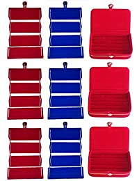 Afrose Combo 3 Pc Red Earring Folder 3 Pc Blue Ear Ring Folder 3 Pc Ring Jewelry Vanity Box