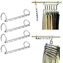 Metal Magic Wonder Closet Hangers, Wardrobe Space Saving Coat hangers Clothing Organizer by MIU COLOR-4 Pack