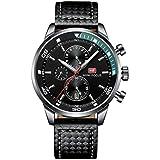 Mini Focus Mens Quartz Watch, Chronograph Display and Leather Strap - MF0017G.04