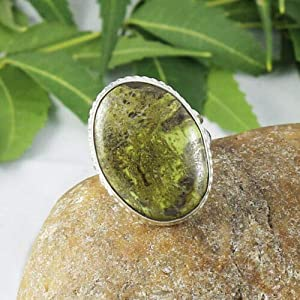 Solid 925 Sterling Silver Natural Gaspeite Gemstone Ring Jewelry Sz 7 US, Valentine's Day Gift for Women, Valentine Love Jewelry