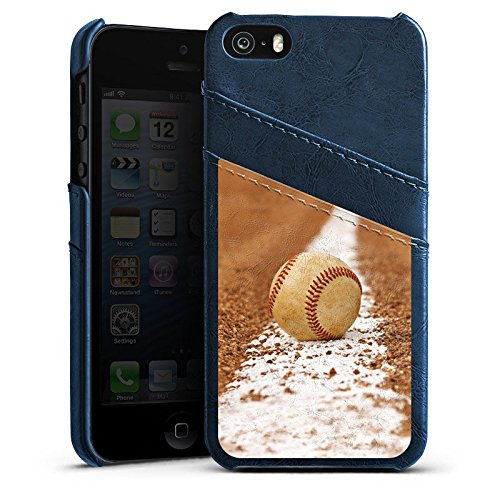 Apple iPhone 4 Housse Étui Silicone Coque Protection Baseball Terrain de sport Balle Étui en cuir bleu marine