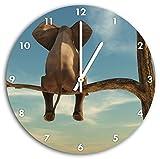sitzender Elefant auf einem Ast in der Wüste, Wanduhr Durchmesser 30cm mit weißen spitzen Zeigern und Ziffernblatt, Dekoartikel, Designuhr, Aluverbund sehr schön für Wohnzimmer, Kinderzimmer, Arbeitszimmer