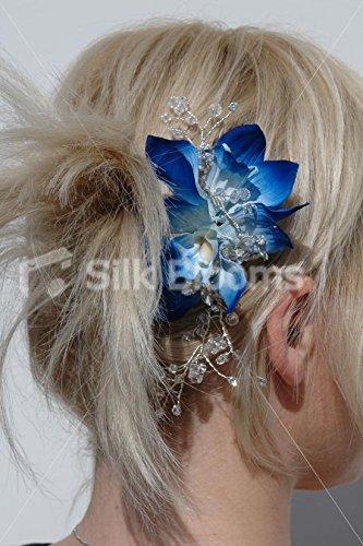 Moderno-Galaxy-azul-de-orqudea-boda-flores-pelo-peine-wcristales