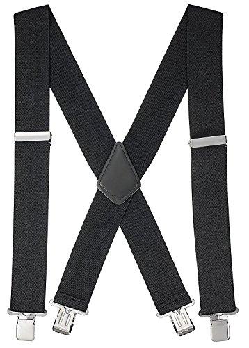 Buyless fashion bretelle a x posteriore da uomo regolabili ed elastiche 1,2 metri - larghe 5 cm - ganci metallici-5116 colore: black