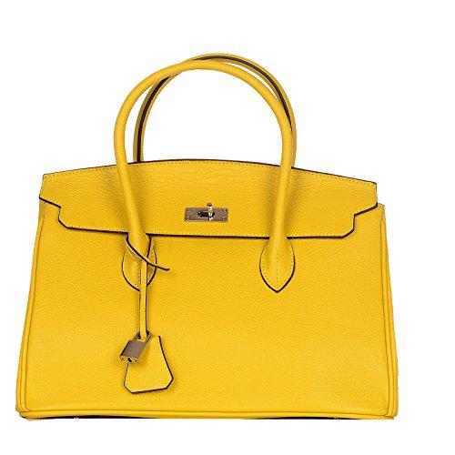 BW Sale / Rouven / Grace 35 Tote Bag / Lemon Gelb Lime Punch / Silver / Damen Leder Tasche Shopper Umhängetasche Crossover Schultertasche Handtasche / edel modern chic klassisch / 35x25x18cm (Bw-tote)
