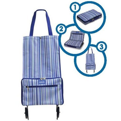 Sabichi Blue Stripe Shopping Bag with Wheels