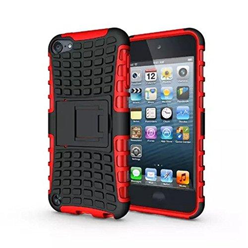 iPod Touch 5 Hülle,iPod Touch 6 Hülle, LUOLNH (TPU Series) Silikon Stoßfest Touch 6 Schutzhülle Ständer Armor Drop Resistance Schutz Hülle für Apple iPod Touch 5G 6G (Rot) (Ipod Touch 4 Case Ständer)