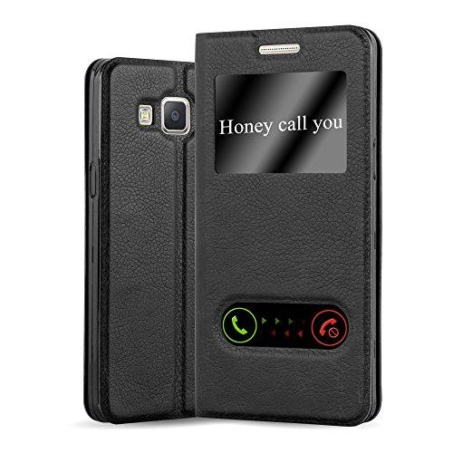 Samsung Galaxy A3 2015 (5) Funda Estilo Libro de Cuero Sintético en NEGRO COMETA de Cadorabo (Diseño VIEW) – Cubierta Protectora con Cierre Magnético, Función de Suporte y Doble Ventana – Protección Carcasa Caja Etui Case Cover