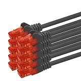 0,5m - schwarz - 10 Stück CAT 6 Netzwerkkabel Patchkabel 1000 Mbit RJ45 Stecker kompatibel zu CAT5e CAT5 CAT6 CAT7 Dsl Internet Router
