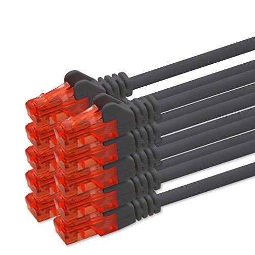 2m - schwarz - 10 Stück CAT 6 Netzwerkkabel Patchkabel 1000 Mbit RJ45 Stecker kompatibel zu CAT5e CAT5 CAT6 CAT7 Dsl Internet Router