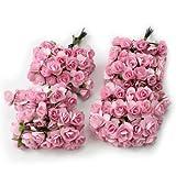 144 x Rosas Papeles Flores Artificial Rosado Claro Decoración para Boda Hogar