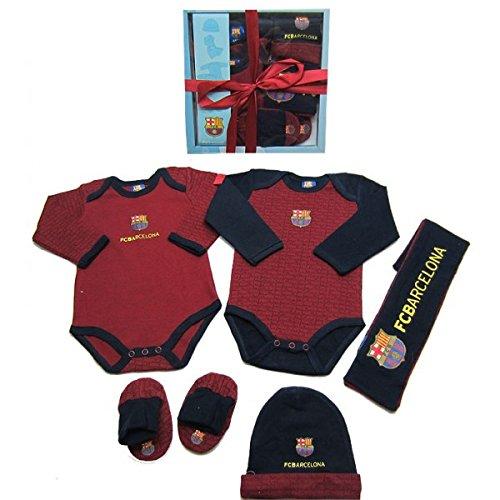 Coffret cadeau naissance bébé FC Barcelone - Collection officielle Barça - Echarpe + bonnet + chaussons + body x 2