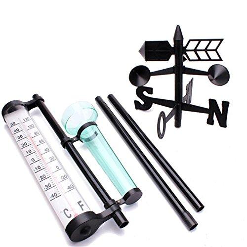 lembrd Funkwetterstation, mit Regenmesser + Thermometer + Windanzeige Gartenaußenstation Meteorologisches Messgerät Flügelwerkzeug