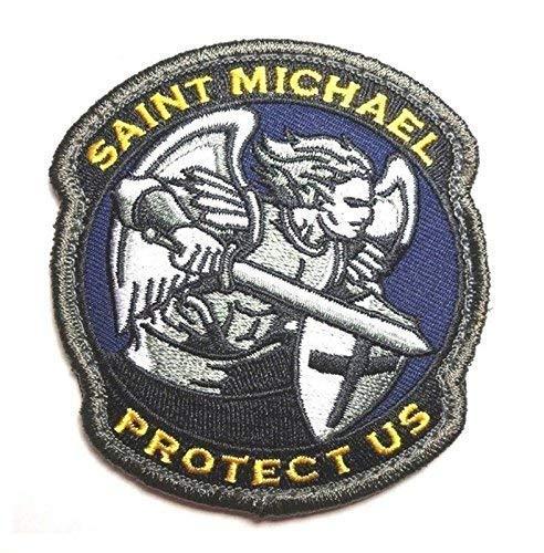 Patch Nation Saint Michael Protect Us Blau Gestickte Airsoft Klett-Flecken -
