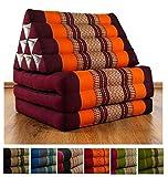 Thaikissen Mit 3 Auflagen Der Marke Livasia, Kapok Dreieckskissen, Asiatisches Sitzkissen, Liegematte, Thaimatte (Orange)