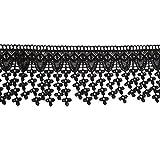 PIXNOR Encaje cinta apliques corte suministros de costura (negro)