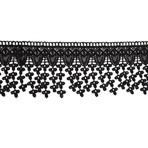 PIXNOR Gestickte Blume Spitze Einfassung Trim Nähen Handwerk (schwarz) (Gestickte Trim Ribbon)