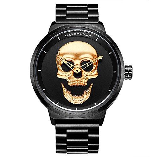 Astarsport - Reloj de pulsera de cuarzo para hombre, estilo pirata, estilo calavera, estilo militar, resistente al agua, reloj de acero inoxidable, color negro