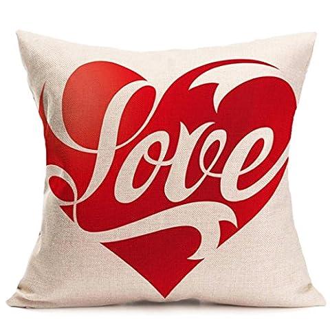 Taie d'oreiller, Beautyvan Mode Superbe les amoureux de peinture Housse de coussin en lin Throw Taille Taie d'oreiller Canapé Décoration de maison, C, 43cm*44cm