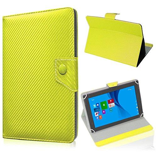 UC-Express Tablet Tasche für Blaupunkt Endeavour 101M Hülle Schutzhülle Carbon Case Cover, Farben:Gelb