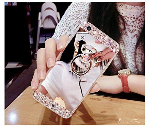 Custodia Cover per Samsung Galaxy S4, Ukayfe Cover Specchio Lusso Placcatura Lucido di Cristallo di Scintillio Strass Diamante Glitter Caso per iPhone 7 Plus[Crystal TPU] [Shock-Absorption] Protettiva Argento con ring holder 3#