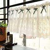 GWW Bestickte Cafe vorhänge hohl,Baumwoll-Kurze küche vorhänge Halb Schiere Fenster gardinen für zuhause-A 200x50cm(79x20inch)
